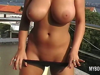 brunette public nudity